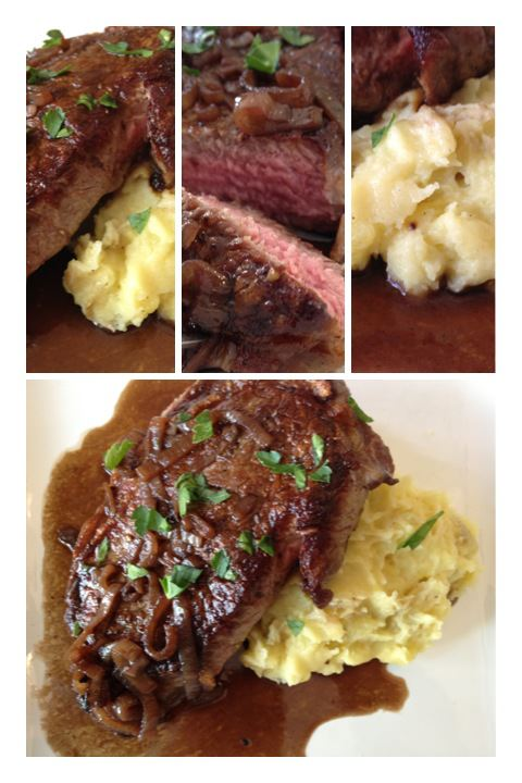 Ribeye Steak with Bordelaise Sauce and Yukon Gold Mashed Potatoes